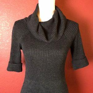 Ann Taylor Loft Charcoal Cowl Neck Sweater Dress